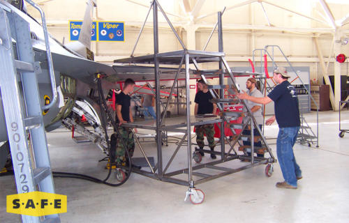 Custom Aviation Maintenance Stand for the Lockheed Martin F-16 Fighting Falcon - SAFE Structure Designs
