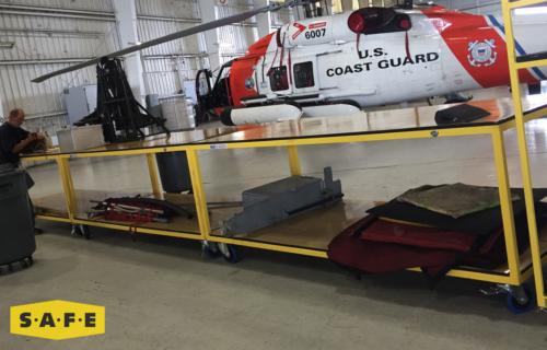 Custom Built Hangar Equipment - Work Bench for the USCG's Fleet of MH-60 Jayhawks - SAFE Structure Designs